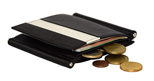 Portamonete con 2 fermagli dorati e tasca per carte di credito, fermasoldi, fermaglio per banconote