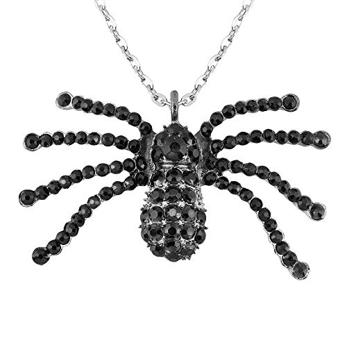 Black Strass Spider Necklace Halloween Jewellery for Fancy Dress Costumes Accessories Accessory