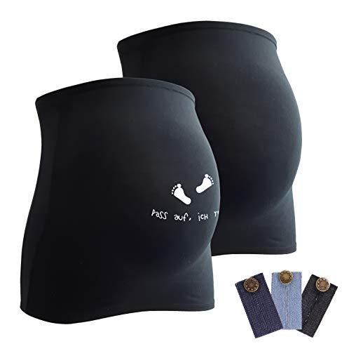 Mamaband Lot de 2 bandeaux de grossesse pour la boule de bébé 1 x Uni 1 x Passe-pied – Chauffe-dos et extension de t-shirt pour femmes enceintes – Mode de grossesse élastique - Noir - Large