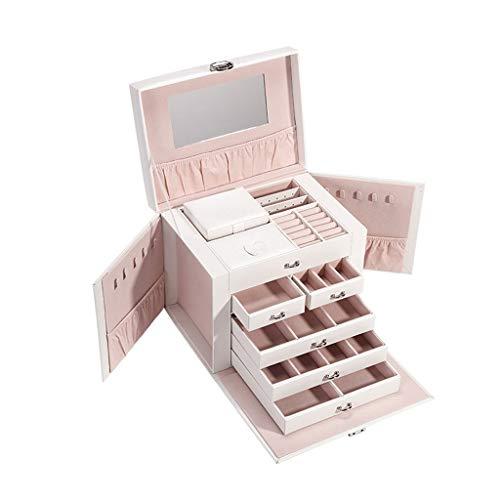 OMING Cajas de joyería para joyas, pendientes, caja de joyería multicapa, organizador de joyas de cuero sintético, regalo vintage para mujeres de gran capacidad organizador de joyería