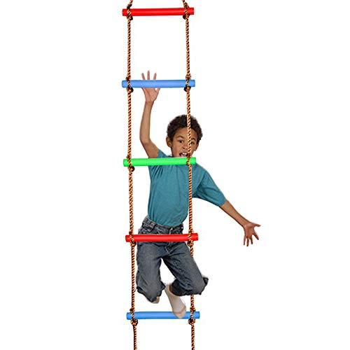 LIAWEI Juego de escalera de escalada de 6 pasos con carga máxima de 150 kg para juegos al aire libre, equipo de escalada, gimnasia, el mejor regalo para niños y niños, marco de árbol, casa de juegos