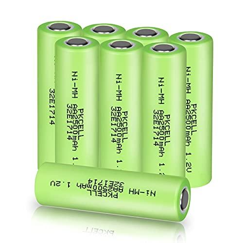 8 PKCELL AA Batterie Ricaricabili Ni-MH 2500 mAh 1.2 V NiMH Industries Batteria Bateria Flat Top