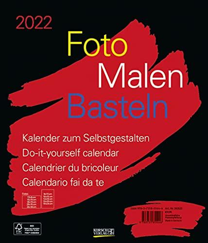Foto-Malen-Basteln Bastelkalender schwarz groß 2022: Fotokalender zum Selbstgestalten. Do-it-yourself Kalender mit festem Fotokarton. Format: 30 x 35 cm