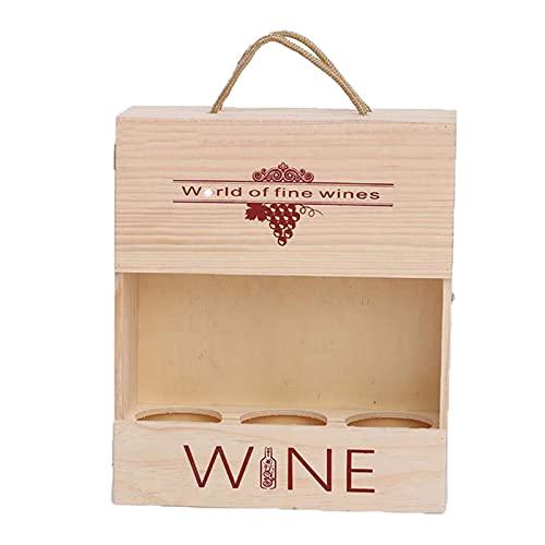 PortáTil Hueco Caja de Vino de Madera Tablero De Tarjeta De Bloqueo De Metal Retro De Tres Botellas Caja de Madera Seguro para Actividades De CelebracióN De Regalos Y Almacenamiento De Vino