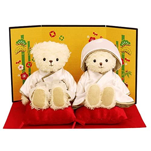 【プティルウ】白無垢白袴のくまの夫婦ぬいぐるみ、和装結婚式ベア (ノーマル)