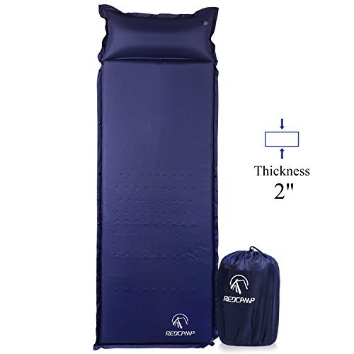 REDCAMP Self-Inflating Sleeping Pad with Attached Pillow, Compact Lightweight Camping Air Mattress with Quick Flow Value, Blue 77'x26'x2'