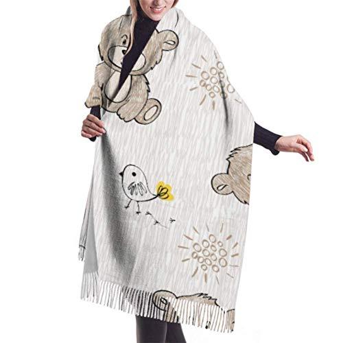 27'x77 Bufanda Suave Lindo Oso de Peluche Dibujado Flores Abrigo Bufanda Chal Bufanda para Mujer Ligero Elegante Grande Cálido