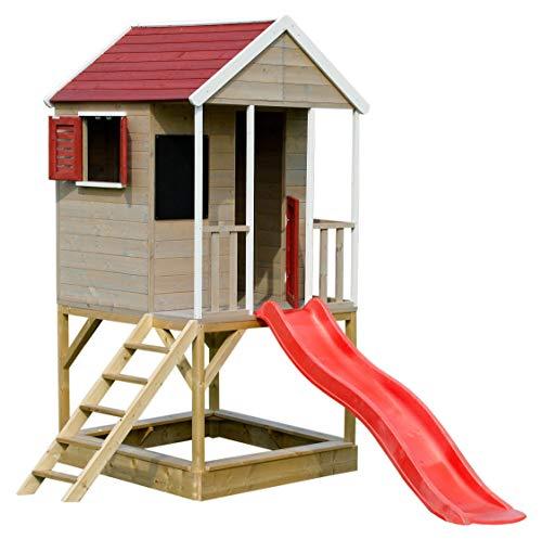 Wendi Toys M7 Spielturm mit Rutsche Kinder | Rot Gartenhaus aus Holz mit Sandkasten und Tafel | Multifunktionales Baby Spielhaus Garten ab 3 Jahre | Outdoor Kinderspielhaus