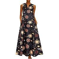 Vestido de Verano Floral sin Mangas con Estampado de algodón, sin Mangas, Diario Vintage de Mujer Vintage