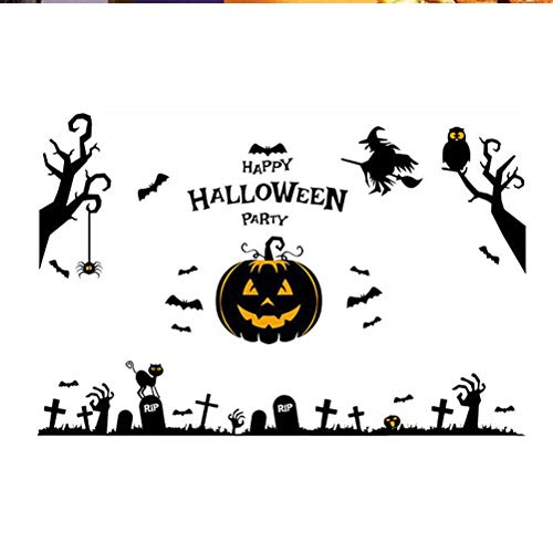 VOSAREA Abnehmbare Happy Halloween Wandaufkleber Wandtattoos Fensterbilder Kürbis Hexe Fledermaus Spinne Aufkleber Halloween Fensterdekorationen Wohnkultur Partyartikel