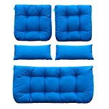 QILLOWAY Outdoor Patio Wicker Seat Cushions Group Loveseat/Two U-Shape/Two Lumbar Pillows for Patio Furniture,Wicker Loveseat,Bench,Porch,All Weather, Settee of 5 (Blue)