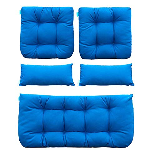 QILLOWAY Outdoor Patio Wicker Seat Cushions Group Loveseat/Two UShape/Two Lumbar Pillows for Patio FurnitureWicker LoveseatBenchPorchAll Weather Settee of 5 Blue