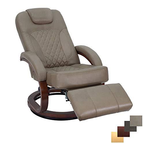 RecPro Nash 28' RV Euro Chair Recliner | Modern Design | RV Furniture | Swivel Base | Recliner Chair (1 Chair, Putty)