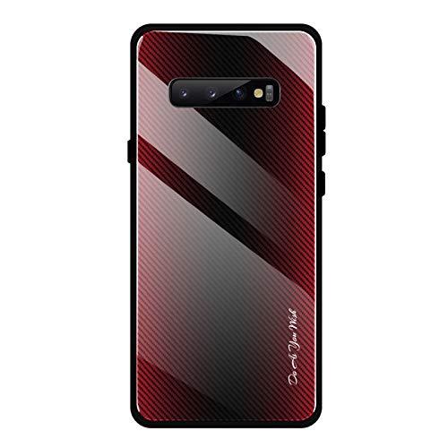 Shazikaihui Samsung Galaxy S10 Hülle, Gehärtetes Glas Zurück mit Weichem TPU Silikon Rahmen Handyhülle Gradient Case Schutzhülle Kompatibel für Samsung Galaxy S10 (rot)