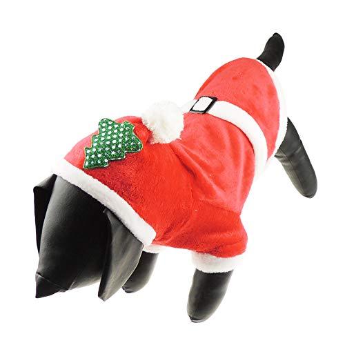 Glamour Girlz Hond Kat Feestelijke Kerstmis Rode Kerstman Warm Winter Meisje Jongen Jumper Jas Outfit Kostuum Hoed Kleine kerstboom, Medium, Rood
