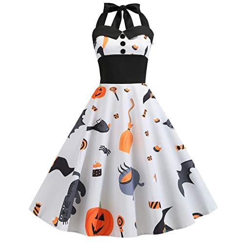 I613 Damen Vintage Cocktailkleid 50er Jahre Retro Rockabilly Hepburn Kleid Halloween Kürbis Druck Cocktailkleid Ballkleid - Weiß - Mittel