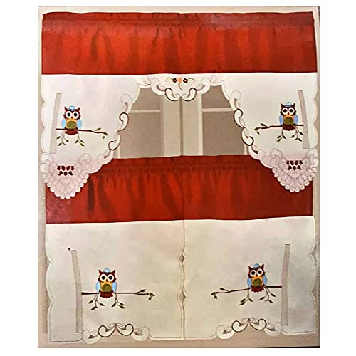 ASTARSTORE Sequin and Embroidered Owl 3 Piece Kitchen Window Curtain Panel Tiers and Valance Set (30x36 Tiers Set) - Red