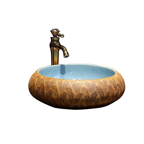 Art au-dessus du bassin de comptoir Salle de bains en céramique Lavabo Lavabo rétro Lavage de scène rond (43x15cm) Meubles-lavabos
