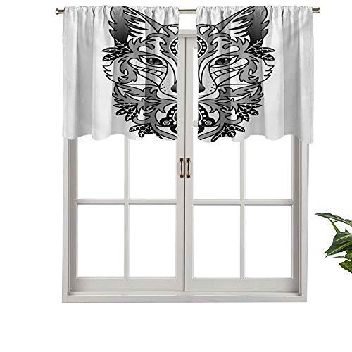 Hiiiman Cenefa de cortina para ventana de privacidad interior, diseño de zorro con hojas de árbol ovaladas, juego de 1, 137 x 45 cm para puerta corredera de patio o comedor