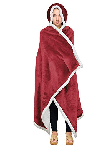 Catalonia classic Sherpa Hooded Blanket, Warm Cozy Wearable Poncho Blanket Fleece Cuddle Throw Wrap Cape, Ultra Soft, Plush, Snuggle, Comfort, One Size, Wine