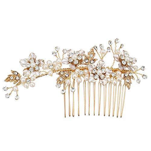 AnazoZ Tocados para Pelo Boda Flores con Perlas Cristal Blanca Tocado para El Pelo Boda Oro