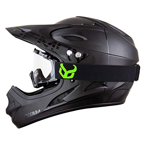 DEMON UNITED Podium Black/Black Full Face Mountain Bike Helmet- BMX Helmet- with Demon Viper MTB Goggles- 3 Goggle Color Options Available (Black Goggle Frame, Large)