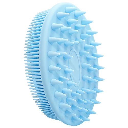 Silicone Body Scrubber, Silicone Body Brush, Silicone Loofah for Use in Shower, 2 in 1 Bath and Shampoo Brush with Soft Brush Head, Lathers Well, Easy to Clean (Blue)