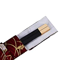 ギフトギフトボックスで再利用可能な布の袋のセットを箸ポータブルトラベル箸の1ペア箸と箸ギフトボックスセット手作りマホガニーの箸,Gold head e