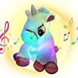Houwsbaby LED Musical Stuffed Unicorn Soft Singing Light Up Plush Toy Lullaby Animated Soothe Birthday Gifts for Kids Toddler Girls, White, 10.5''
