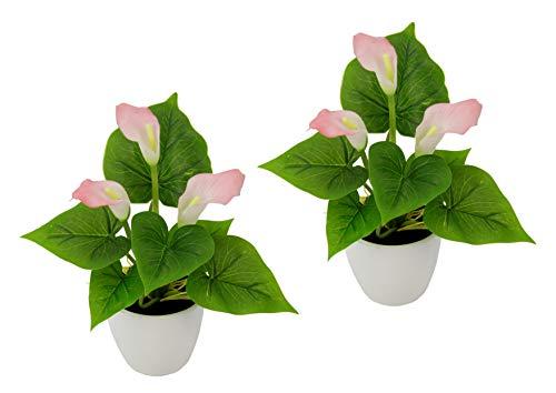 Flair Flower Mini Topf, 2er Set, Rosa, Kunst-Blume, Calla, Künstliche-Pflanze, Polyester, Kunststoff, hell, 20 cm hoch, 16 cm breit