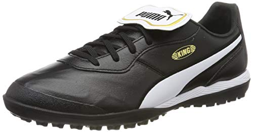PUMA Unisex Adult's King TOP TT Football Boots, Black White, 6 UK 39 EU