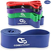 Coresteady Resistance Band - Assisted Pull Up Band - Exercise Workout Band for CrossFit – Powerlifting – Yoga – Stretch Mobility for Men and Women (BLUE/STRONGEST)