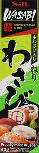 S&B Wasabi – Original japanische Meerrettich Paste in der Tube – Zum Würzen und Marinieren von Lebensmitteln – Mit 4,5 % Wasabi – 5 x 43 g