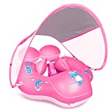 LAYCOL Baby Swimming Pool Float with Removable UPF 50+ UV Sun Protection Canopy,Toddler Inflatable Pool Float for Age of 3-36 Months,Swimming Trainer