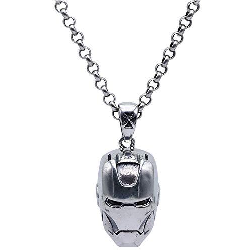 Collana ciondolo casco Iron Man in argento sterling 925 vintage per uomo donna 60cm catena