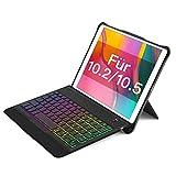 Inateck beleuchtete Tastatur Hülle für iPad 2020(8th Gen)/iPad 2019(7th Gen) 10.2 Inch, iPad Air 3 & iPad Pro 10.5, mit abnehmbarem Standfuß, QWERTZ, KB02015,Black