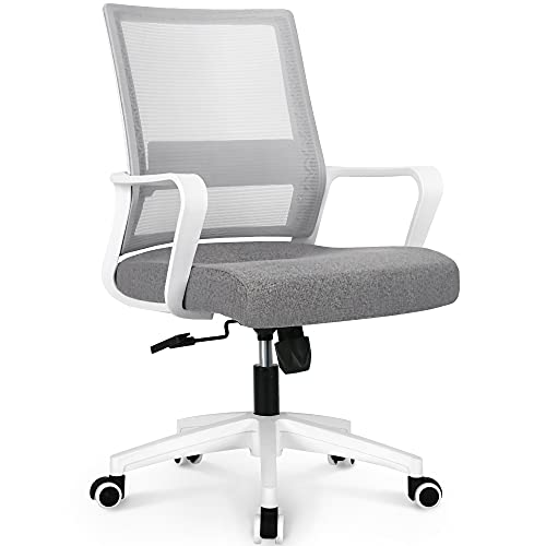 NEO CHAIR Office Swivel Desk Ergonomic mesh Adjustable Lumbar Support Computer Task Back armrest Home Rolling Women Adults Men Chairs Height Comfortable Gaming Guest Reception (Grey)