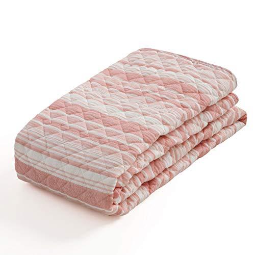 Bedsure敷きパッドシングル敷パッドコットン100%洗えるオレンジピンク冷房対策先染めしじら織りひんやり和風