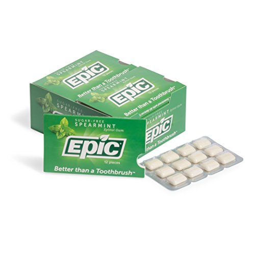 Epic 100% Xylitol-Sweetened Chewing Gum (Spearmint, 144-Count Boxes)