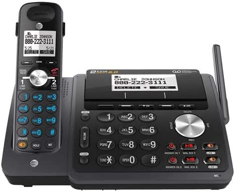 AT&T TL88102BK DECT 6.0 2-Line Expandable Cordless Phone with Answering System and Dual Caller ID/Call Waiting
