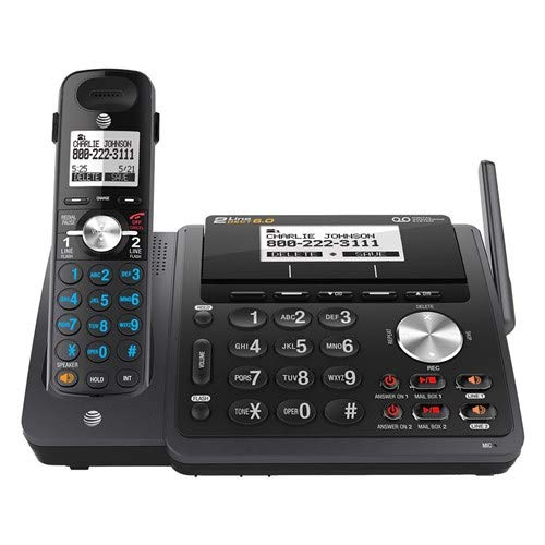 AT&T TL88102BK DECT 6.0 2-Line Expandable Cordless Phone with Answering System and Dual Caller ID Call Waiting