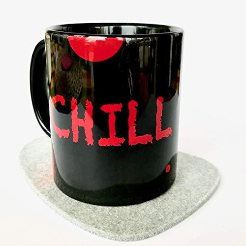 Tasse mit Spruch, Tasse + Filzuntersetzer + Karte, CHILL NOW - WORK LATER (schwarz-rot), versandfertig, last minute Geschenk