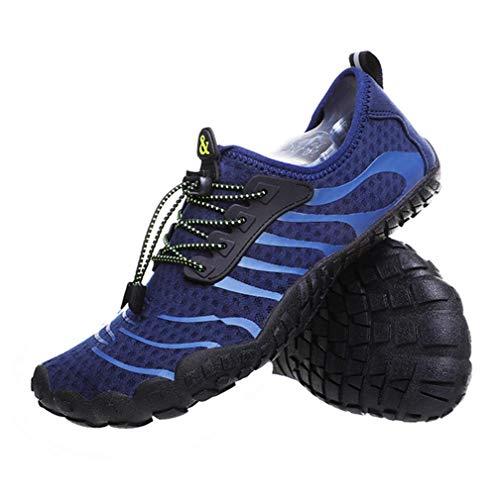 JJZXLQ Zapatos de Agua, Unisex Descalzo al Aire Libre Secado rápido Zapatos de Agua Mujeres Hombres para Aqua Beach Vacation Swim Diving Surf Yoga,Azul,37