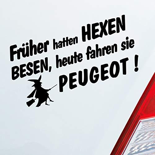 Auto Aufkleber in deiner Wunschfarbe Frueher Hatten Hexen Besen Heute Fahren Sie für Peugeot Fans 19x10 cm Sticker.