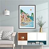 LYHNB Pintura sobre lienzo de 59,8 x 89,9 cm sin marco Italia carteles de viaje pintura, Cinque Terre, lago Garda, paisaje de montaña, decoración moderna de la casa