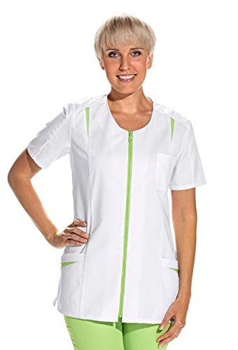 clinicfashion 10112063 Kurzkasack weiß/hellgrün für Damen, Mischgewebe, Größe 38