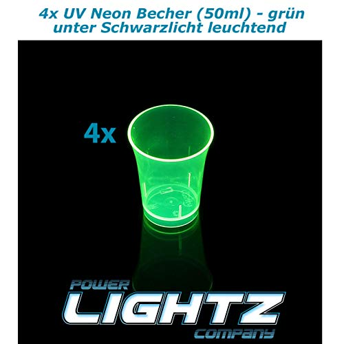 Power Lightz 4 Stück UV Neon Becher/Schnapsgläser 50 ml in grün (Mehrweg) für Shots und Schnaps - unter Schwarzlicht Leuchtend für Party und Geburtstag