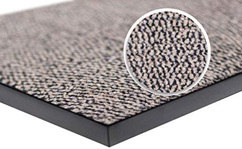 WELLMAX Felpudo antisuciedad – Alfombra de entrada interior y exterior absorbente antideslizante alfombra de perfil bajo para puerta delantera y pasillo (Beige-Negro, 90 x 300 cm)