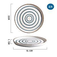 Mei-YY プレート/皿 Hengyi和風手描きセラミック西洋ステーキプレートフラットプレートレトロな性格デザートディスククリエイティブ食器プレートブルーストリップ1.7X18.5Cm 食器