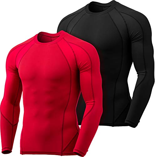 TSLA Men's Long Sleeve T-Shirt Baselayer Cool Dry Compression Top, Dual 2pack(mud61) - Black/Red, M